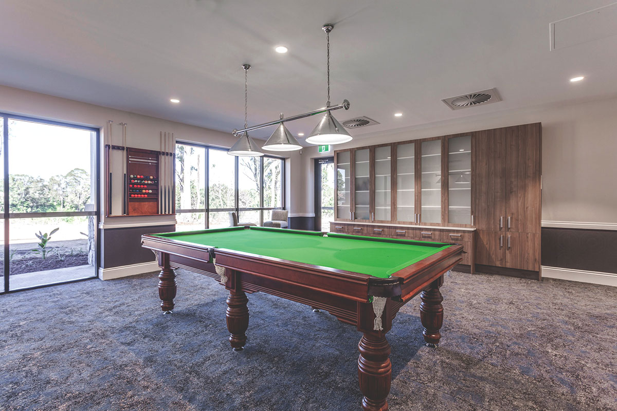Living Gems Caboolture Riverfront country club snooker table