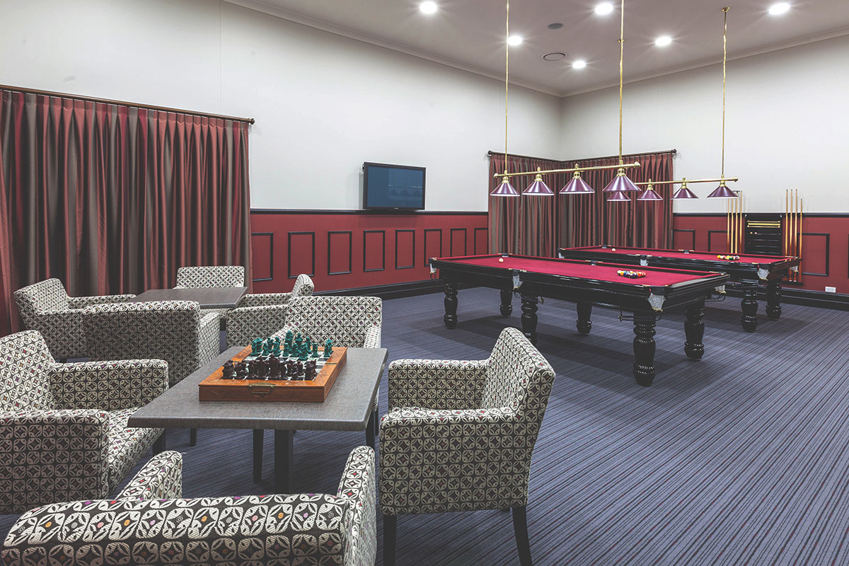 Opal by Living Gems country club games and billiards room