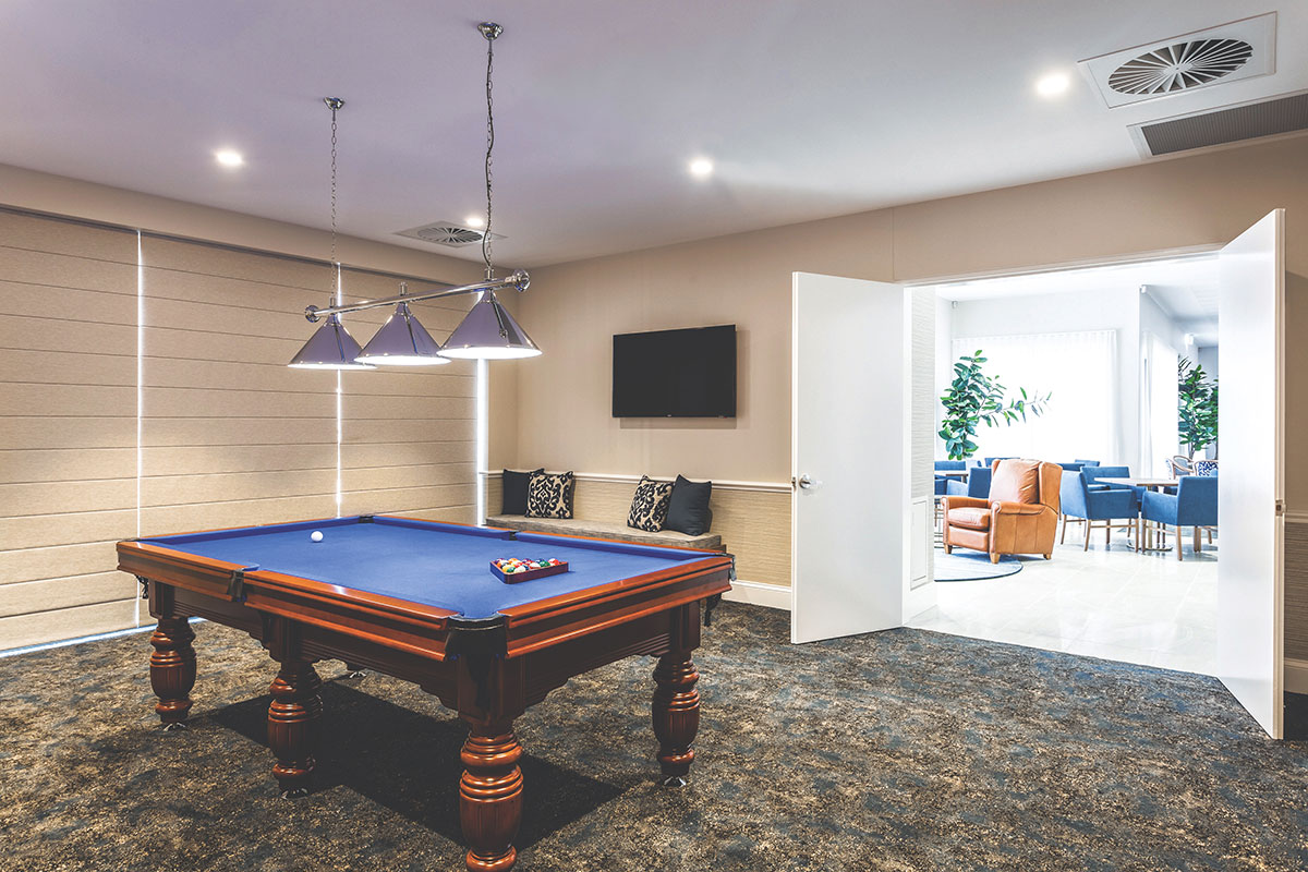 Living Gems Toowoomba country club billiards table